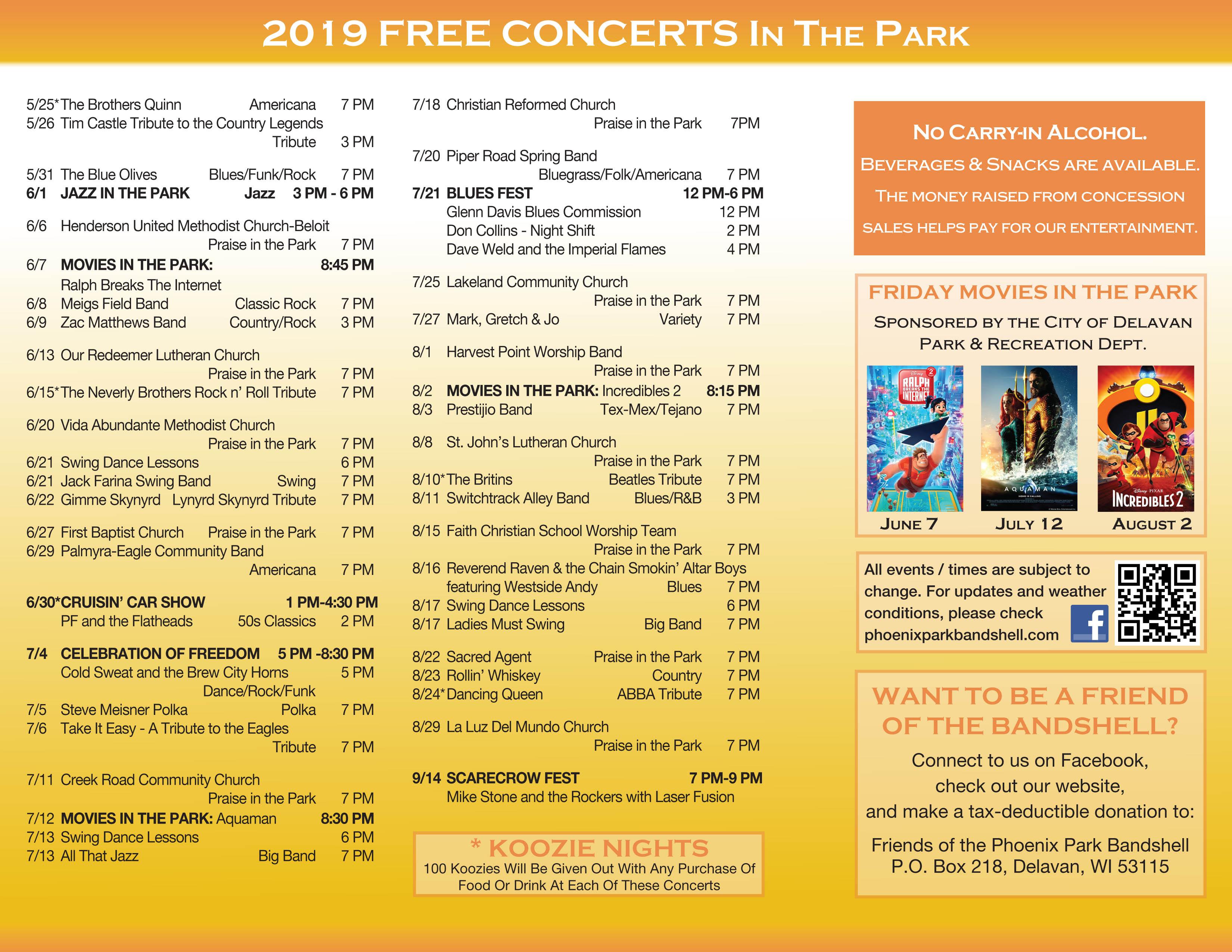 Phoenix Park Bandshell in Delavan WI – Free Concerts All Summer Long!!!
